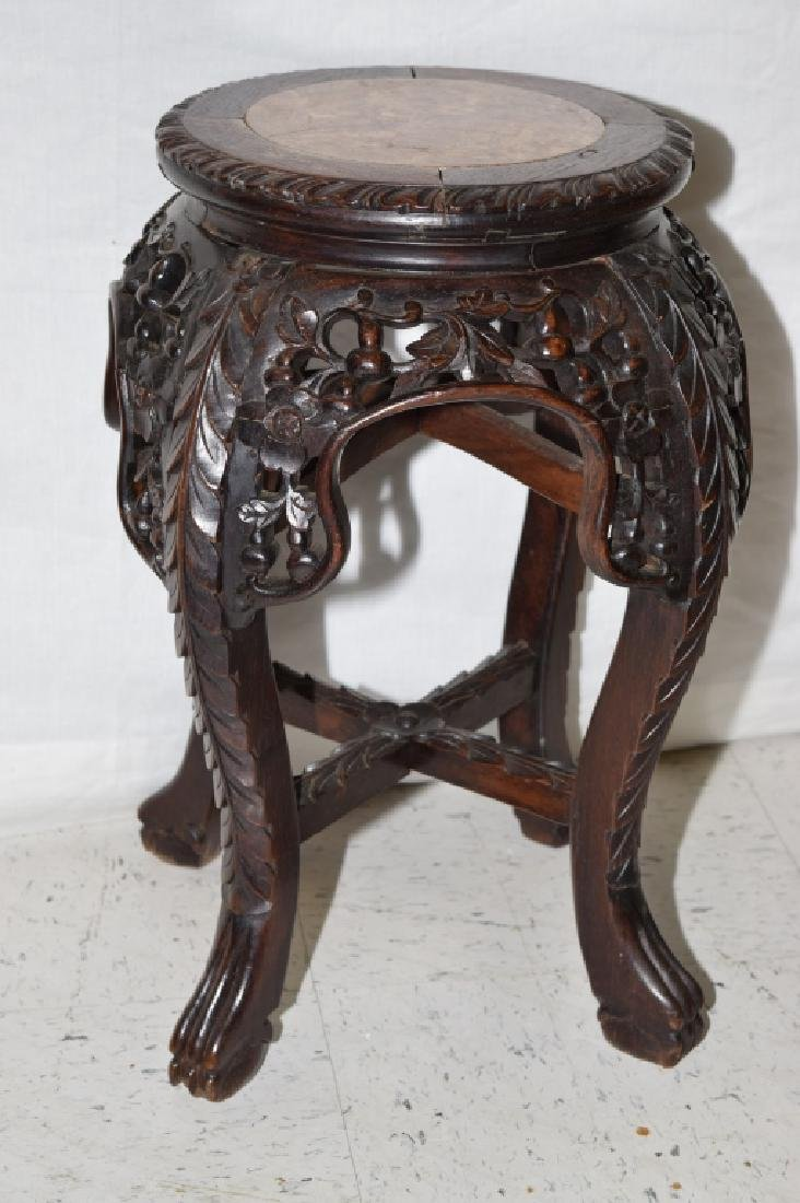 Chinese Marble Inlaid Hongmu Carved Stand
