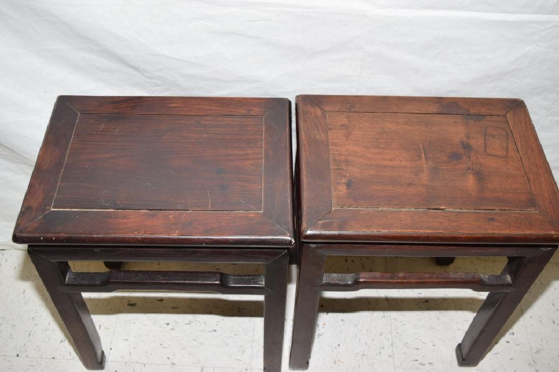Pair of Chinese Hongmu Carved Stools - 2