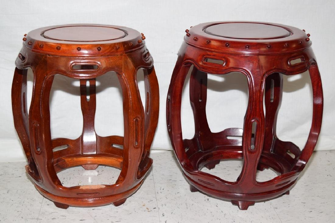 Pair of Chinese Rosewood Carved Stools