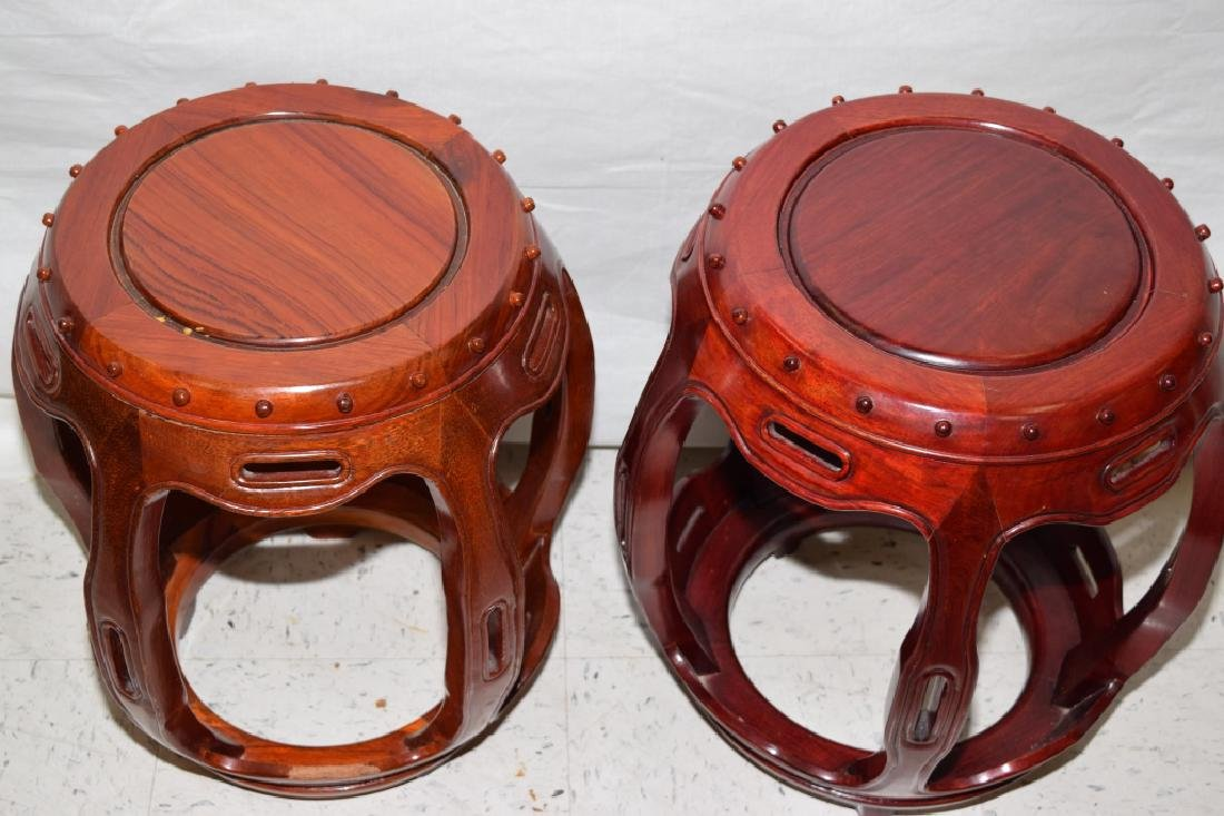 Pair of Chinese Rosewood Carved Stools - 2