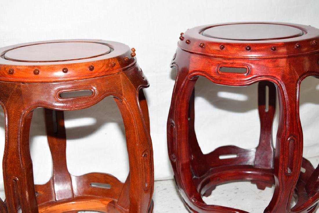 Pair of Chinese Rosewood Carved Stools - 3