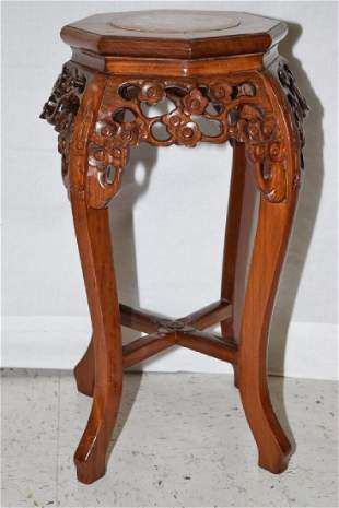 Chinese Marble Inlaid Rosewood Carved Stand