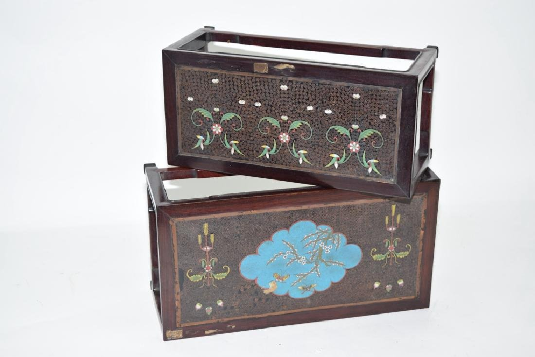 Pair of Chinese Cloisonne Inlaid Hongmu Carved Stands