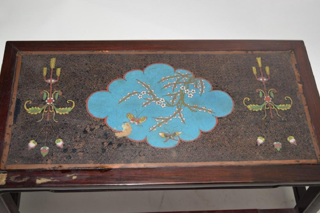 Pair of Chinese Cloisonne Inlaid Hongmu Carved Stands - 2
