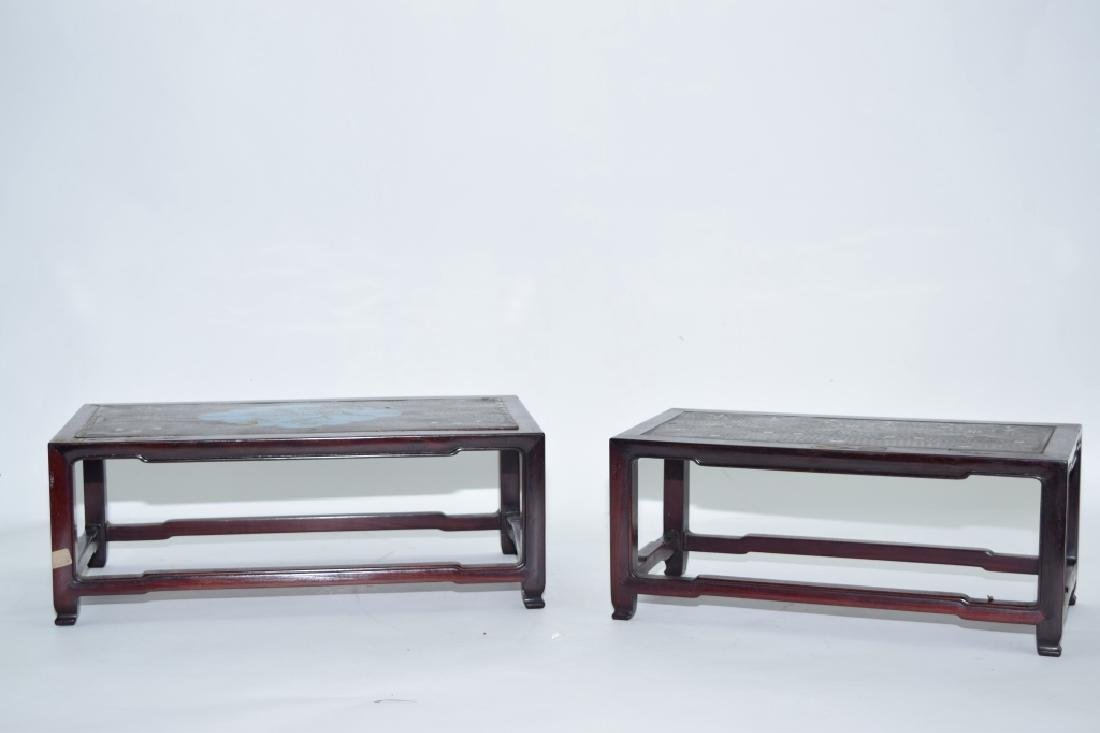 Pair of Chinese Cloisonne Inlaid Hongmu Carved Stands - 4