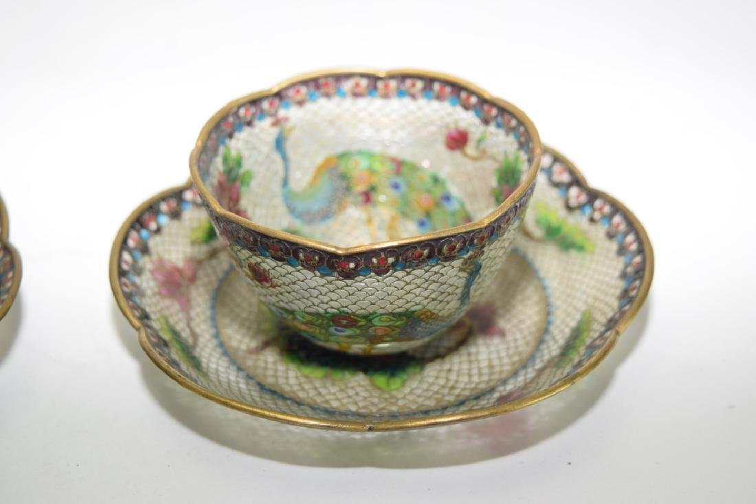 Pair of Chinese Peking Glass Cloisonne Tea Cups - 2