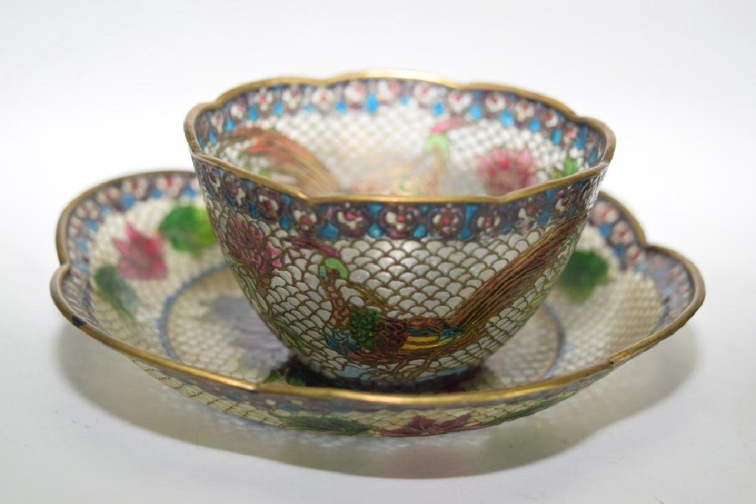Pair of Chinese Peking Glass Cloisonne Tea Cups - 3