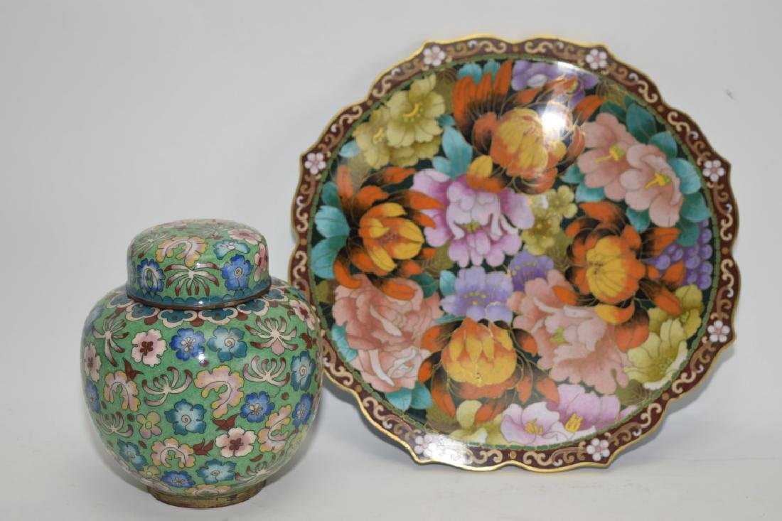 Chinese Cloisonne Jar and Plate