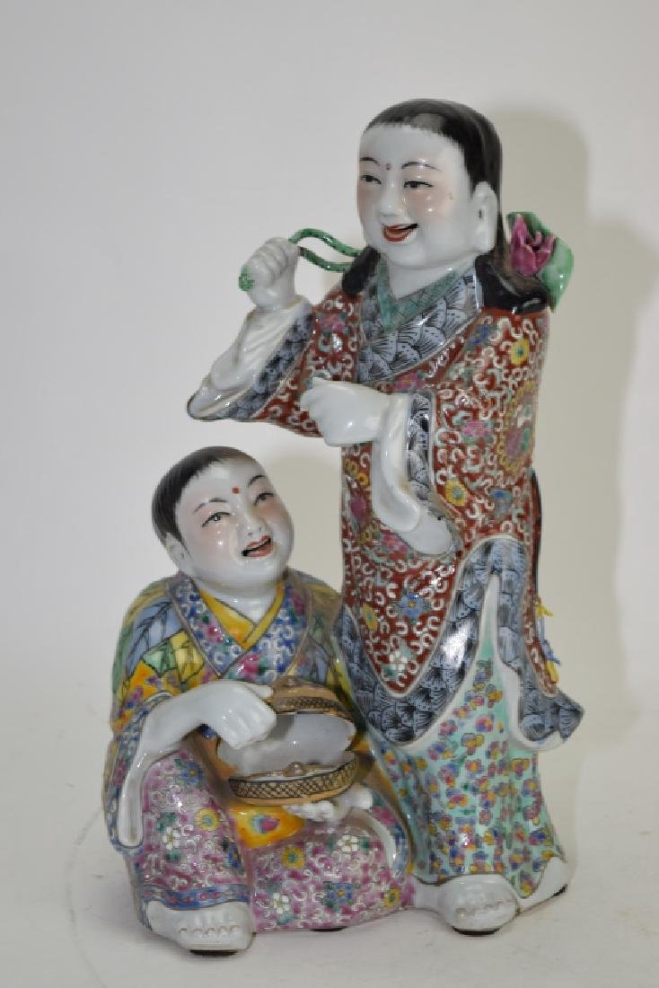 """Chinese Famille Rose Two """"He"""" Deities"""