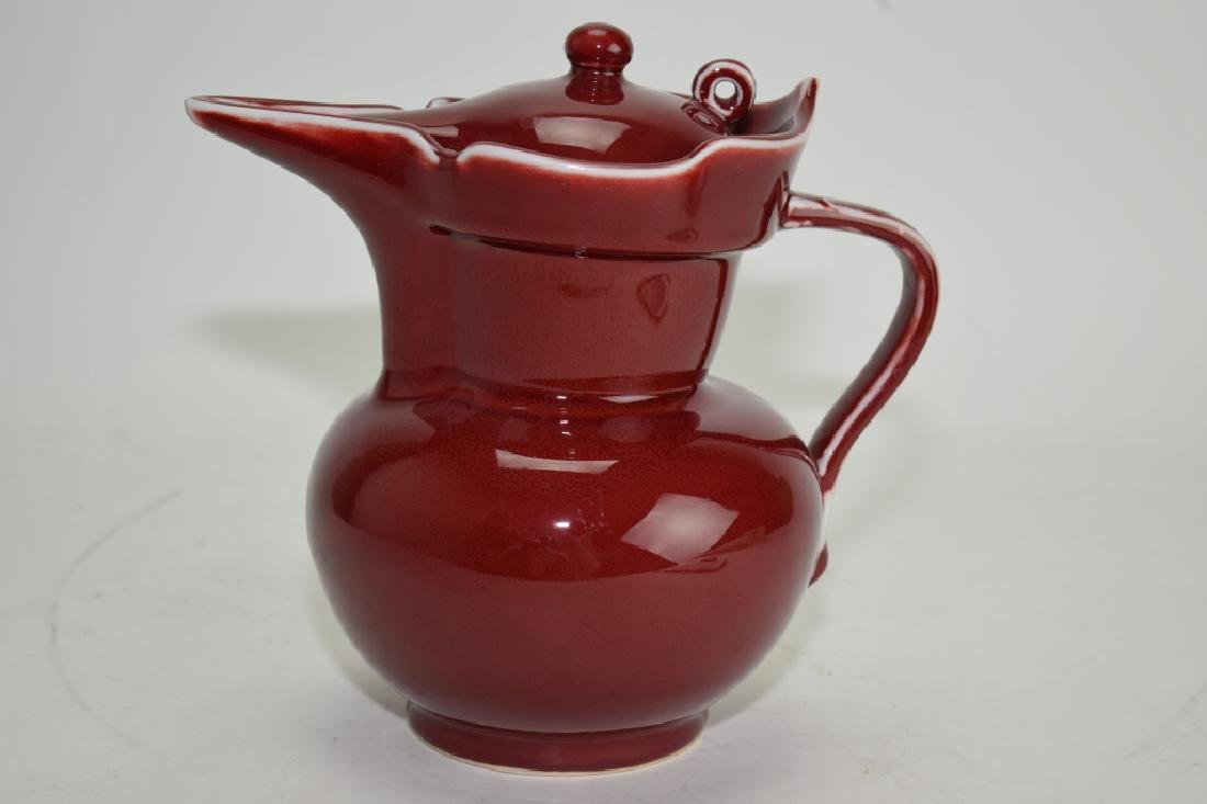 Chinese Faux XuanDe Red Glaze Monk Hat Style Water Pot
