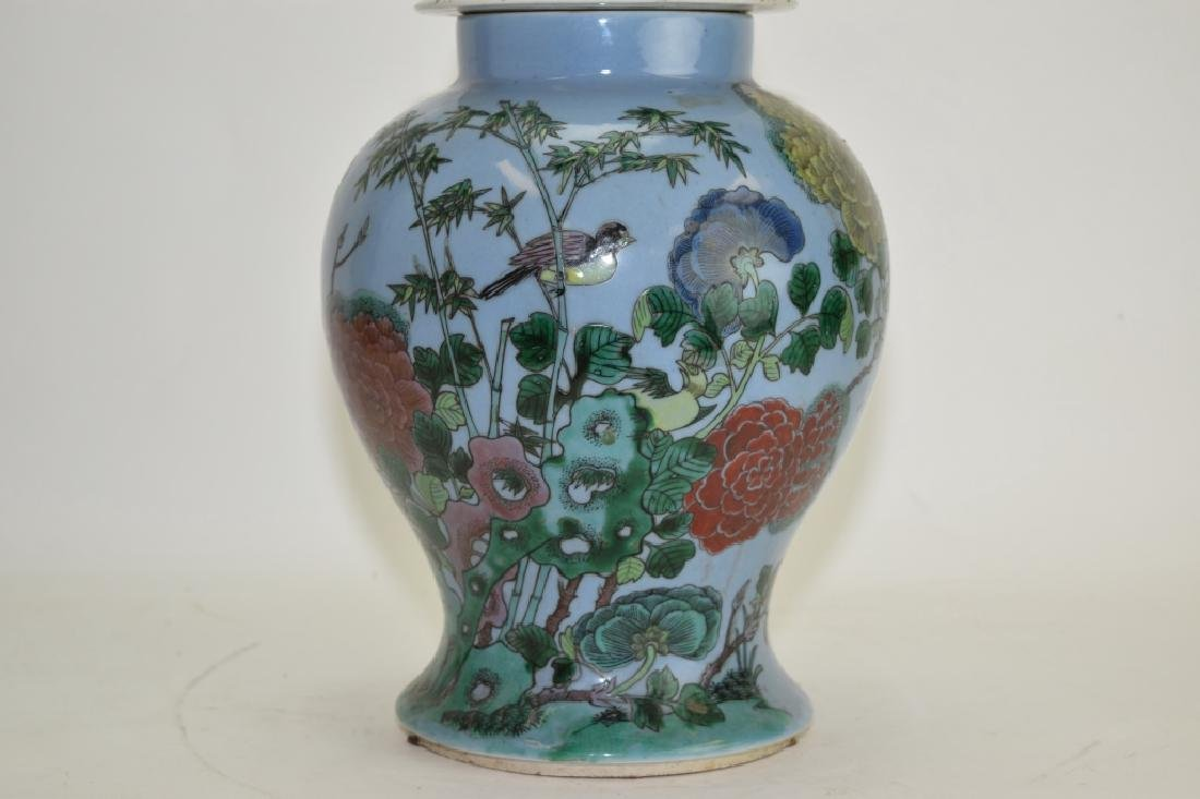 Chinese Blue Glaze Famille Rose Covered Jar - 2