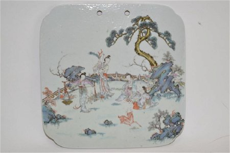 18-19th C. Chinese Famille Rose Plaque