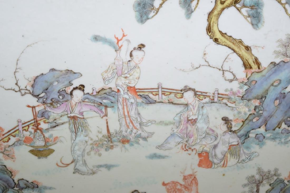 18-19th C. Chinese Famille Rose Plaque - 2