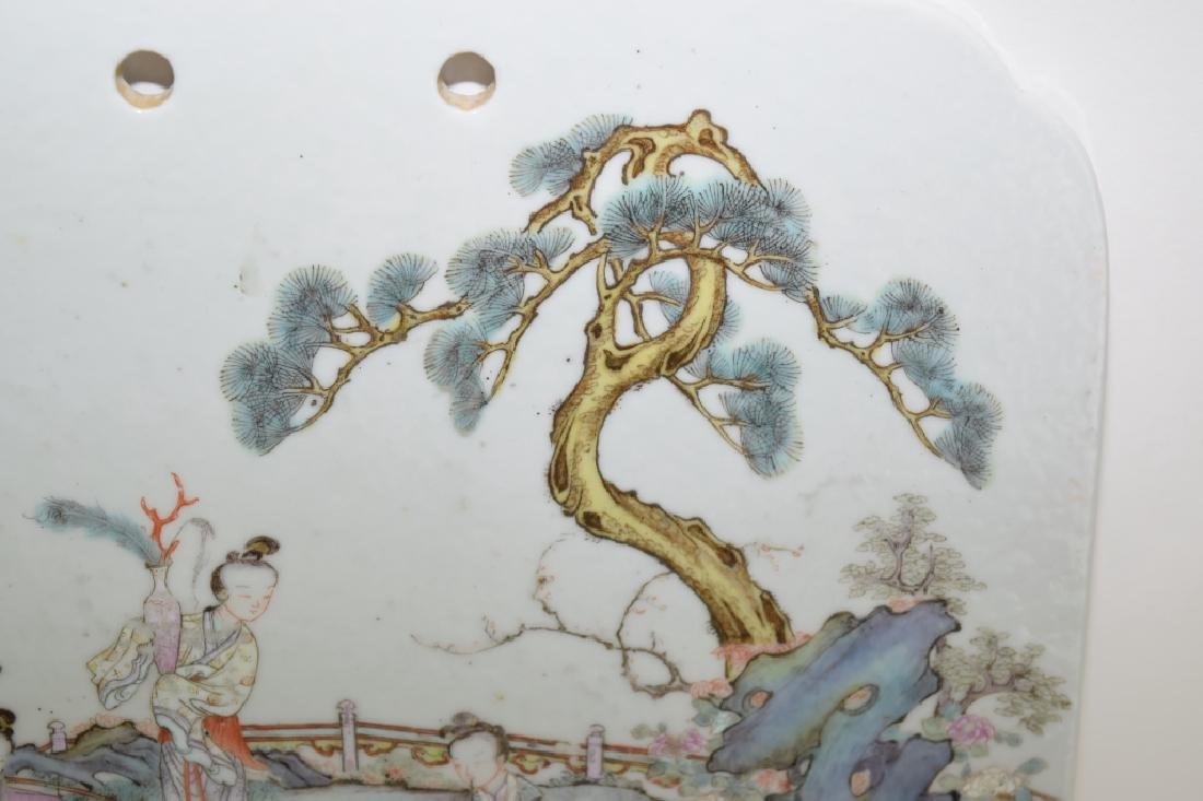 18-19th C. Chinese Famille Rose Plaque - 4