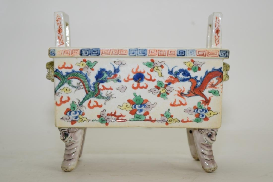Late Ming/Early Qing Chinese Wucai Ding Incense Burner
