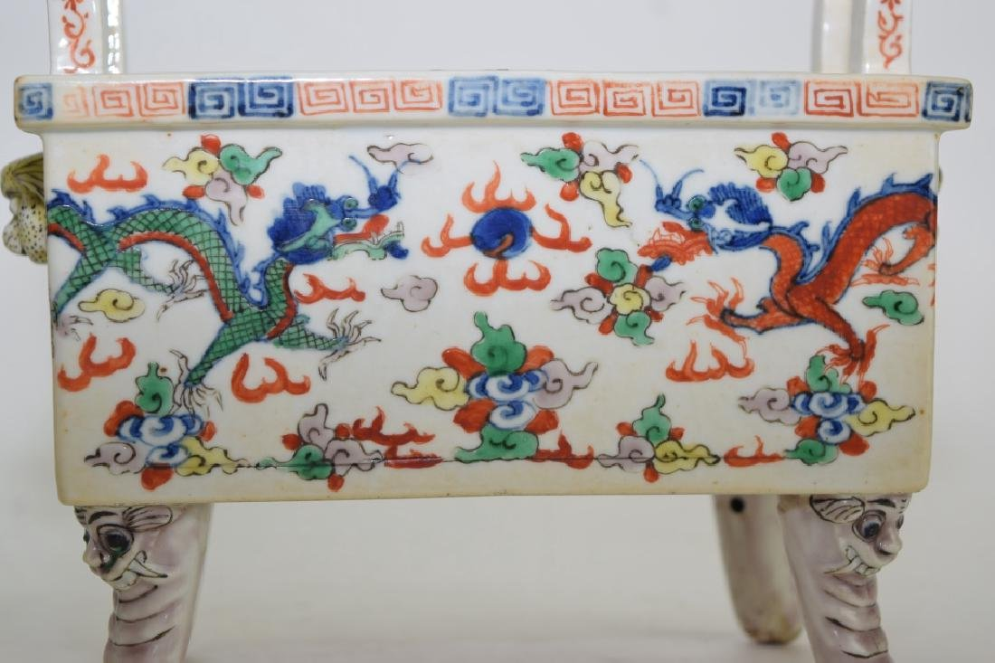 Late Ming/Early Qing Chinese Wucai Ding Incense Burner - 2