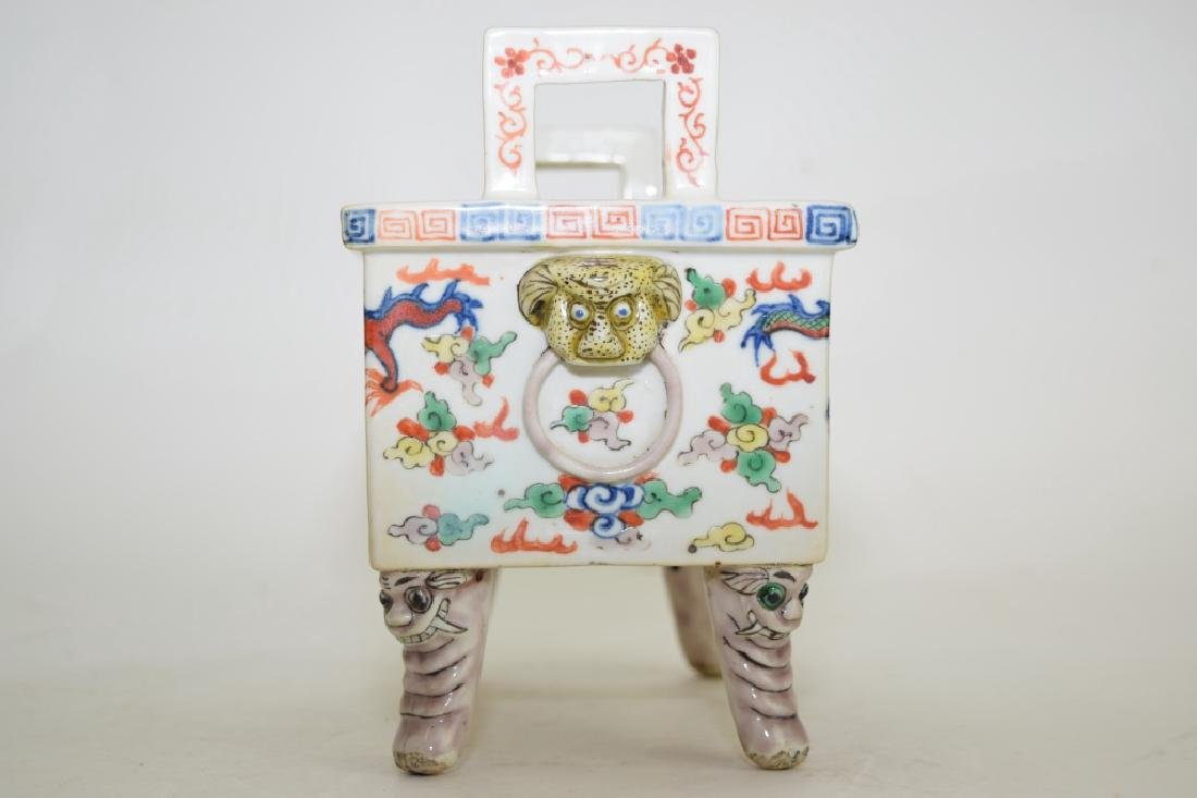 Late Ming/Early Qing Chinese Wucai Ding Incense Burner - 3