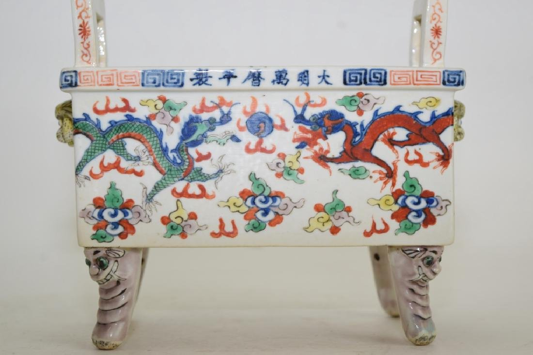 Late Ming/Early Qing Chinese Wucai Ding Incense Burner - 4