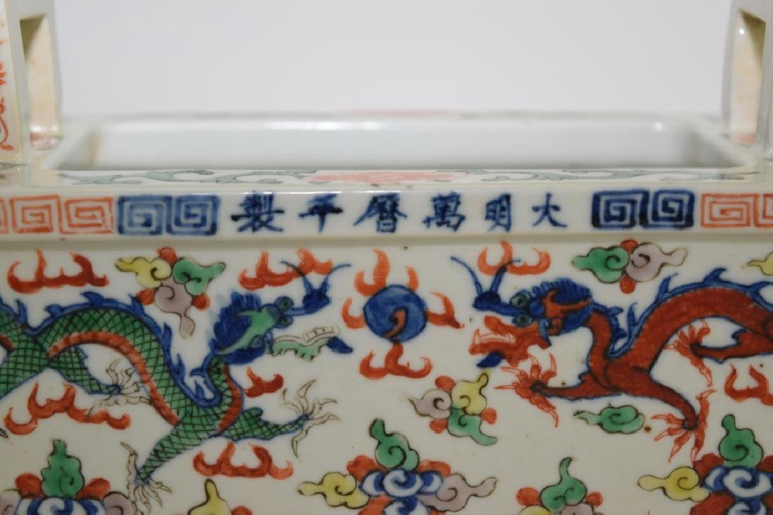 Late Ming/Early Qing Chinese Wucai Ding Incense Burner - 5