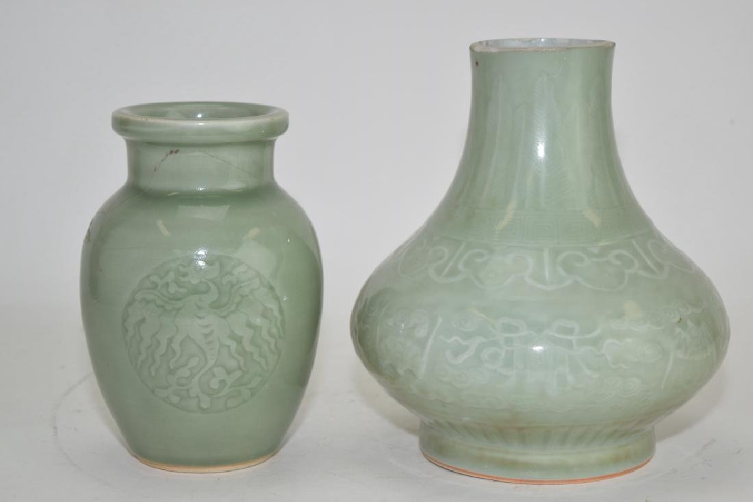Two Qing Chinese Relief Pea Glaze Vases
