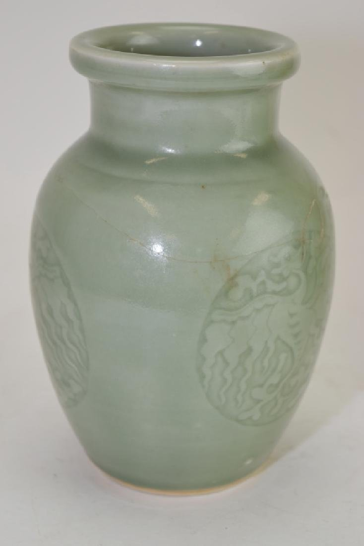 Two Qing Chinese Relief Pea Glaze Vases - 2