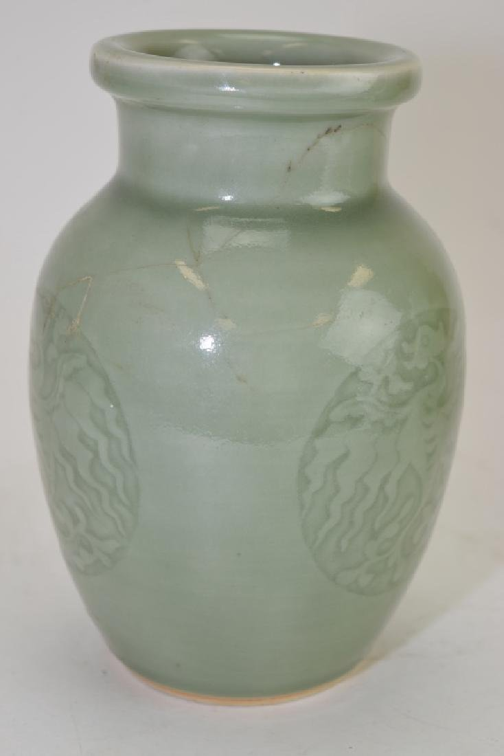 Two Qing Chinese Relief Pea Glaze Vases - 3