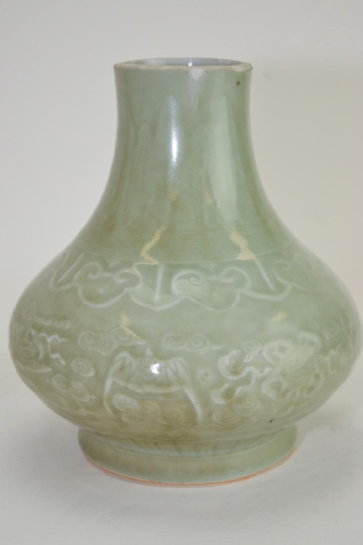 Two Qing Chinese Relief Pea Glaze Vases - 5