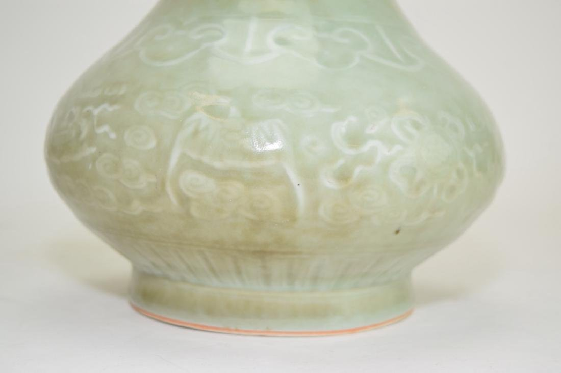 Two Qing Chinese Relief Pea Glaze Vases - 6