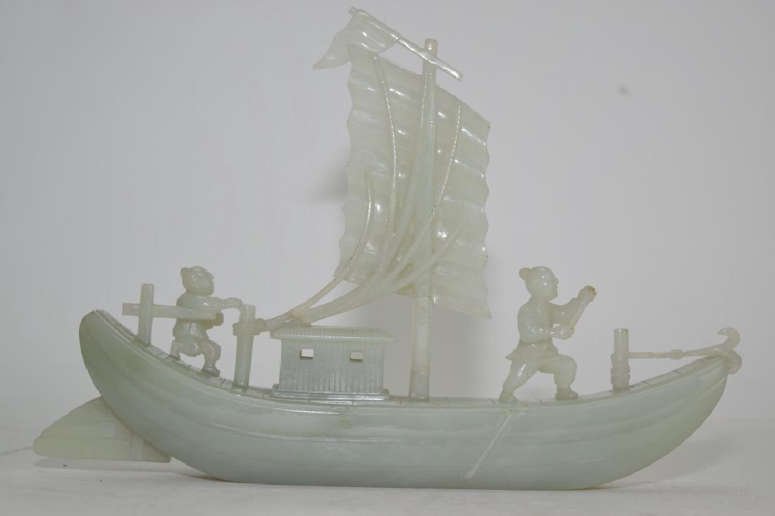 Chinese Greenish White Jade Carved Boat