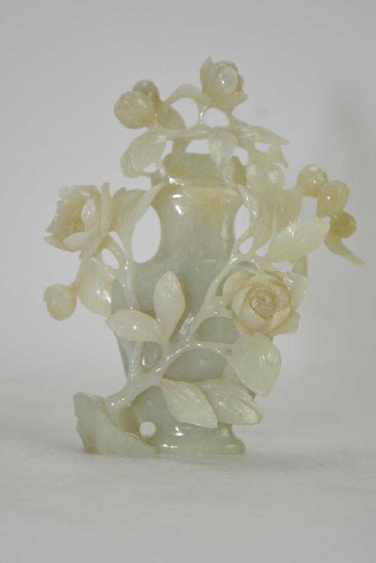 Chinese Greenish White Jade Carved Flower Vase