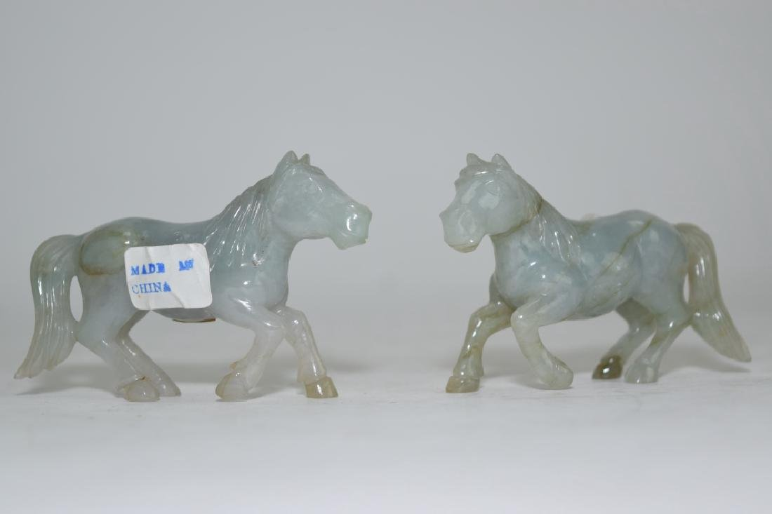 Pair of Chinese Jadeite Carved Horses
