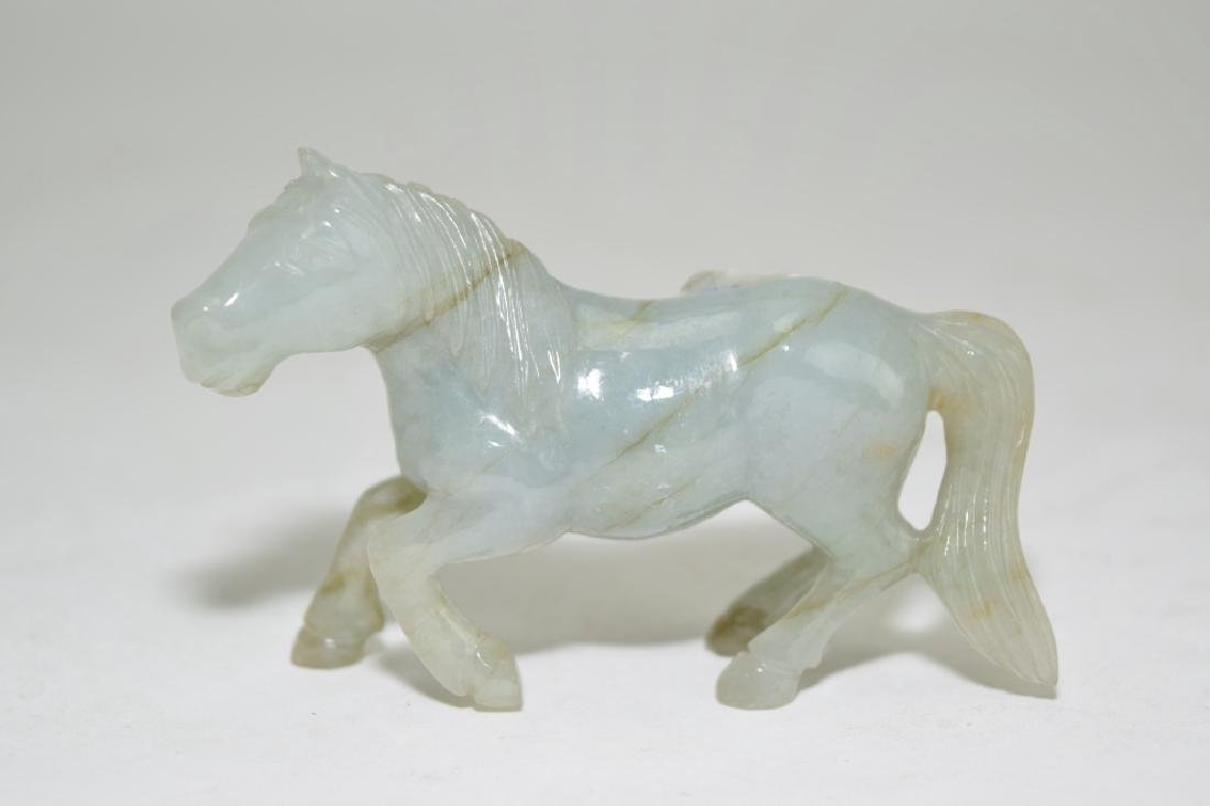 Pair of Chinese Jadeite Carved Horses - 2