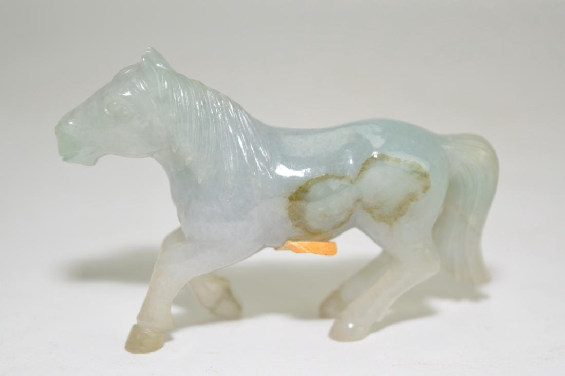Pair of Chinese Jadeite Carved Horses - 3