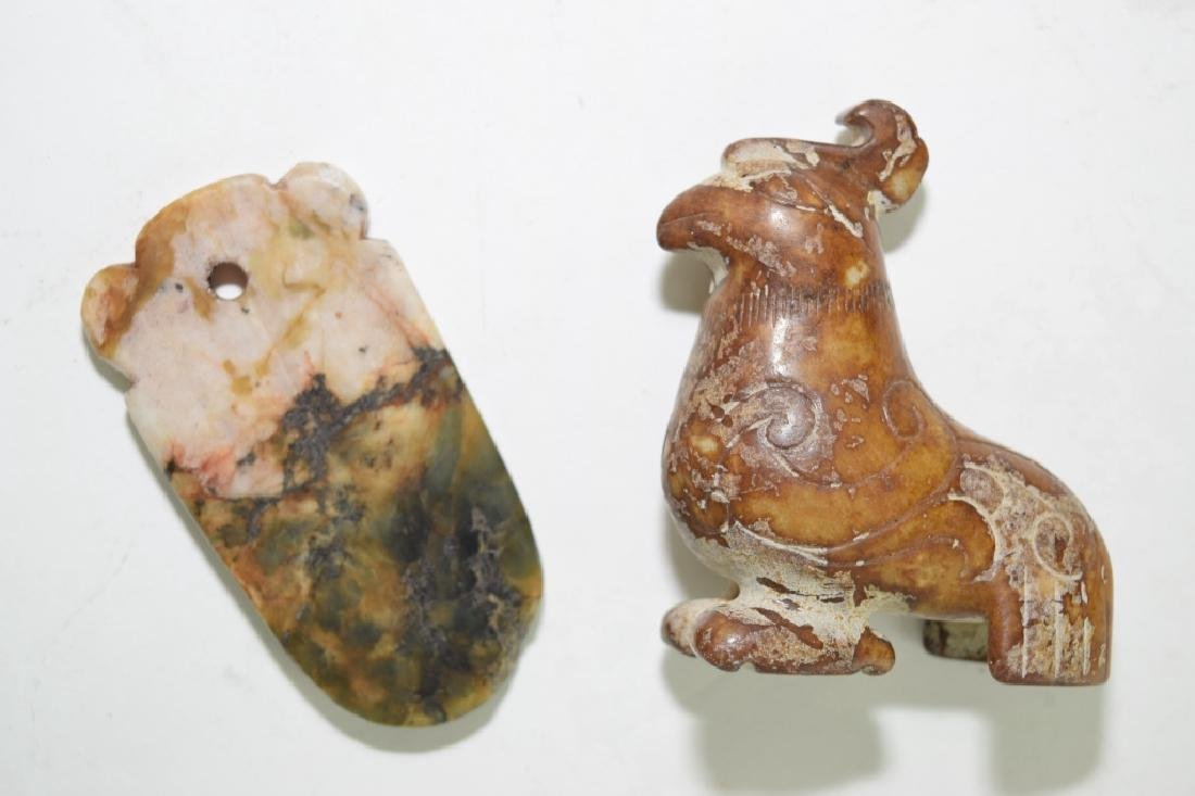 Two Chinese Faux Archaic Jade Carvings