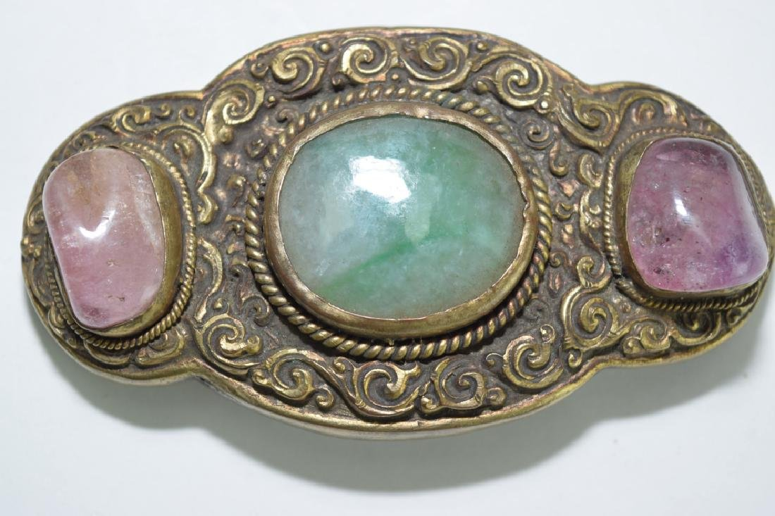 Chinese Gilt Bronze Precious Stone Inlaid Belt Buckle - 2