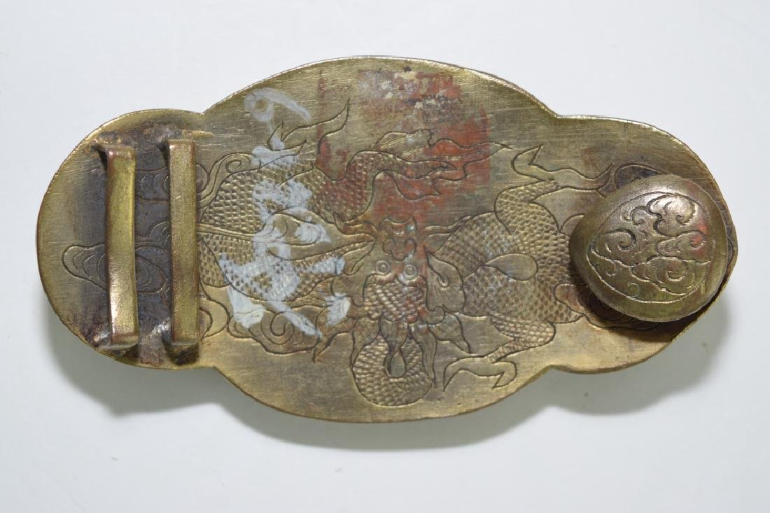 Chinese Gilt Bronze Precious Stone Inlaid Belt Buckle - 3