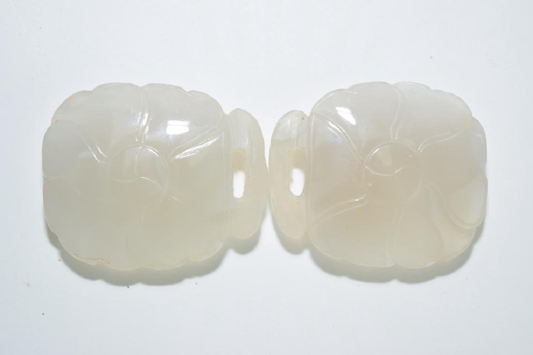 Two Chinese White Agate Carved Belt Buckles
