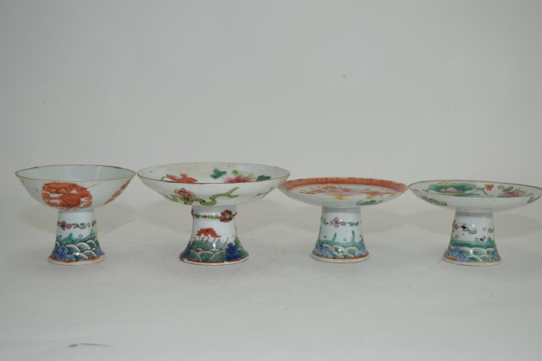 Four Chinese Famille Rose High-Foot Plates