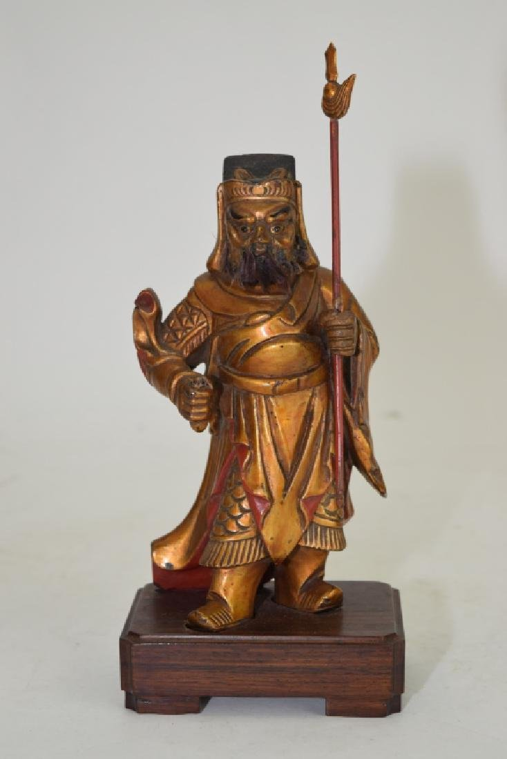 Chinese Gilt Wood Carved Zhou Cang
