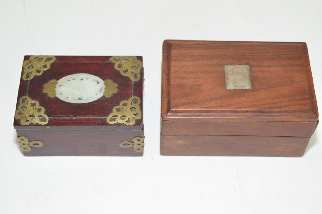 Two Chinese Jade Inlaid Wood Carved Boxes