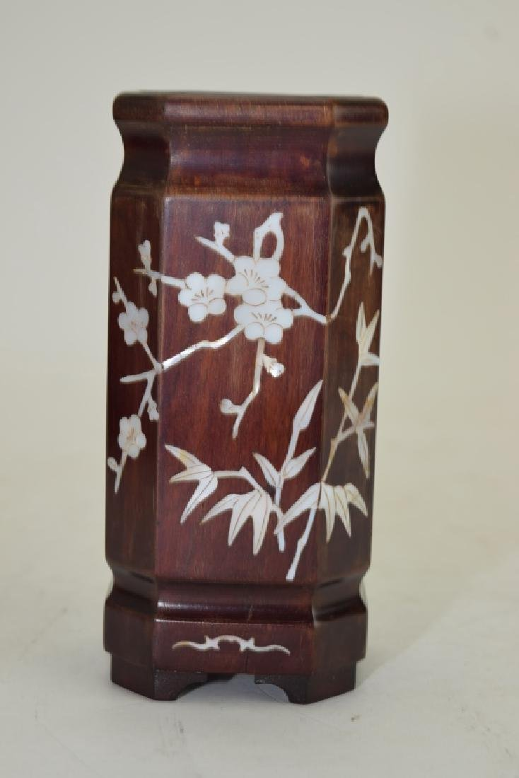 Chinese Mother-of-Pearl Inlaid Wood Brush Pot