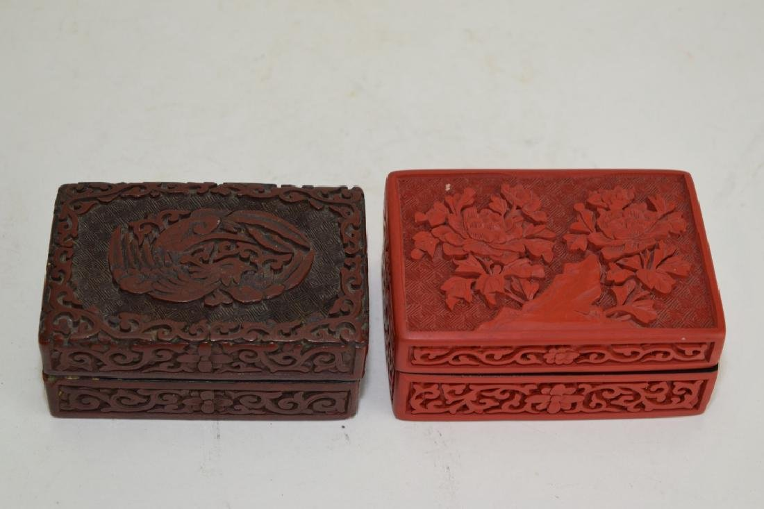 Two Chinese Cinnabar Carved Boxes