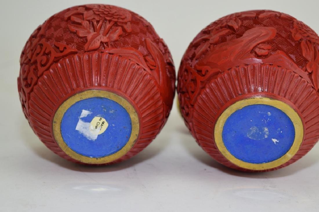 Pair of Chinese Cinnabar Carved Jars - 3