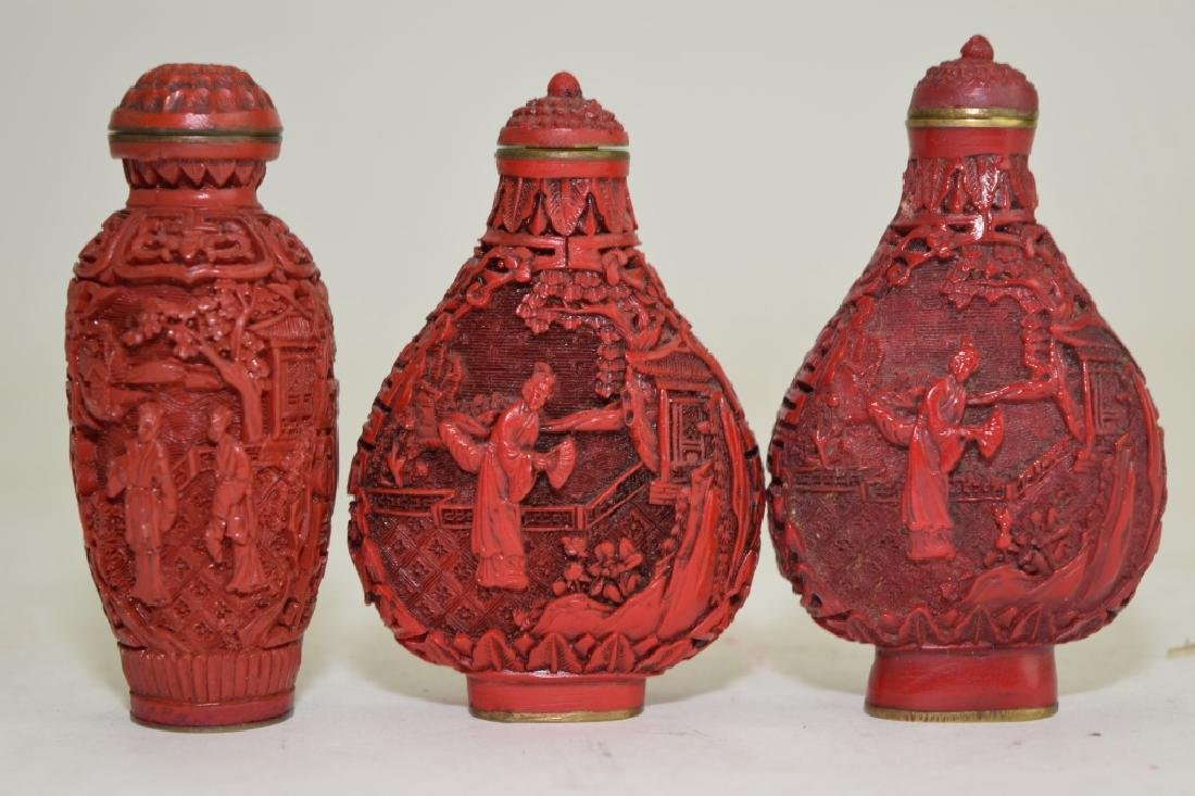 Three Chinese Cinnabar Carved Snuff Bottles