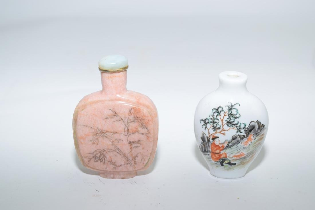 Chinese Rhodonite and Porcelain Snuff Bottles