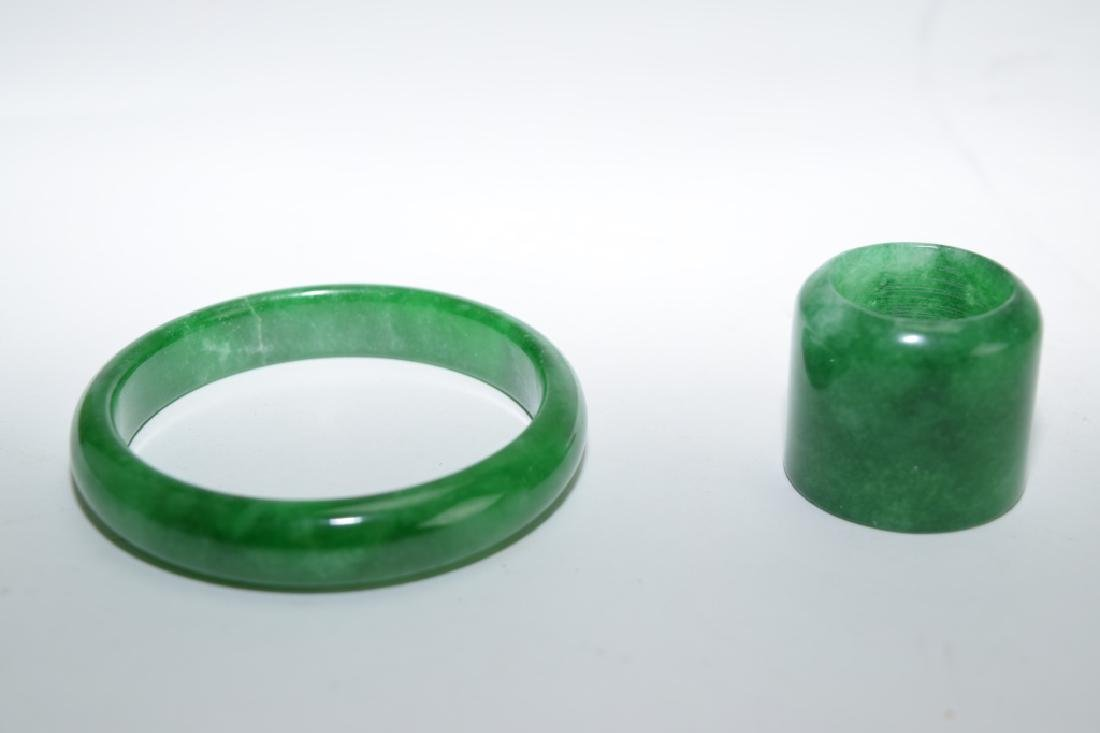 Chinese Green Peking Glass Bracelet and Archer's Ring