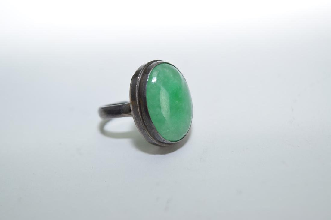 Chinese Jadeite Inlaid Silver Ring