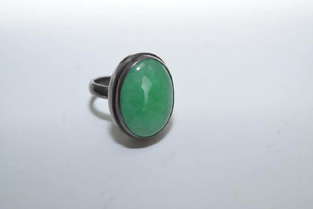 Chinese Jadeite Inlaid Silver Ring - 2