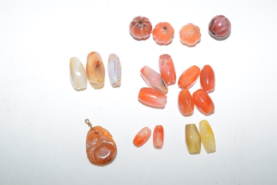 Group of Natural Agate Carved Beads