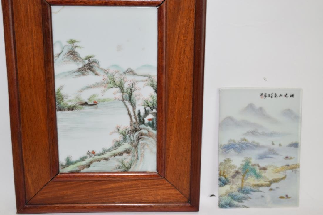 Two Chinese Famille Rose Plaques